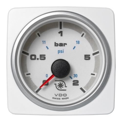 VDO-AcquaLink® Turboladedruck-Manometer 52 mm 12-24 V schwarz oder weiß