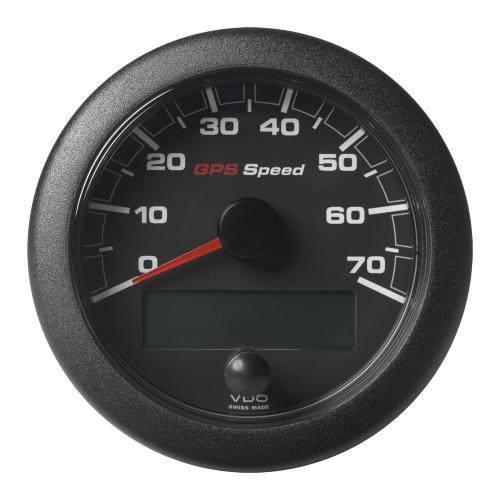 VDO-OceanLink GPS Geschwindigkeitsanzeige Ø85mm 0-14 bis 0-70 Knoten/kmh/mph 12-24V schwarz oder weiß