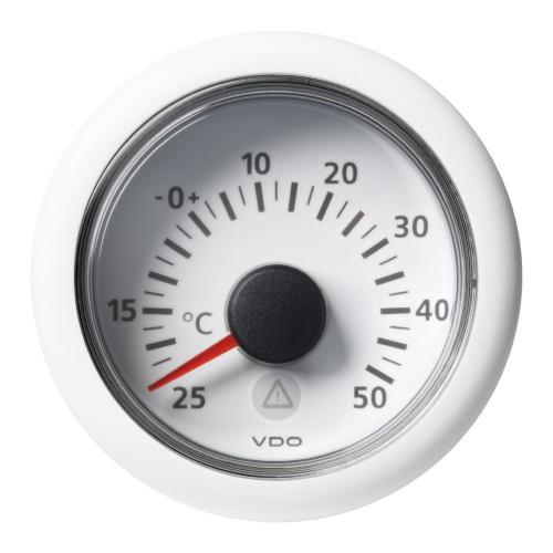 VDO-ViewLine Außentemperaturanzeiger Ø52mm -25°C/+50°C- -10°F/+120°F 8-32V 2 kOhm schwarz oder weiß