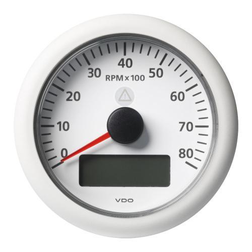 VDO-ViewLine Drehzahlmesser mit Anzeige für Motorbetriebsstunden, Spannung und Uhrzeit Ø85mm 3000-8000 U/min 8-32V schwarz oder weiß