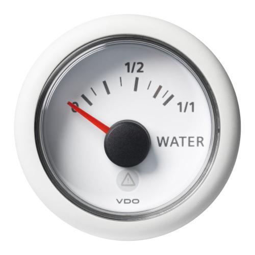 VDO-ViewLine Füllstandsanzeiger Frischwasser (kapazitiv) Ø52mm 0-1/1 8-32V 4-20mA schwarz oder weiß