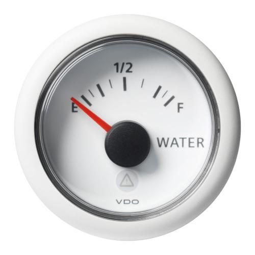 VDO-ViewLine Füllstandsanzeiger Frischwasser (resistiv) Ø52mm 0-1/1-Empty-Full 8-32V 3-180 Ohm schwarz oder weiß