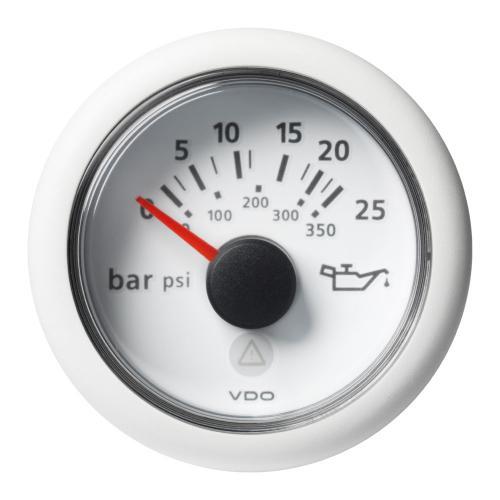 VDO-ViewLine Getriebeöl-Druckanzeiger Ø52mm 0-25 bar/0-350 psi 8-32V 10-184 Ohm schwarz oder weiß