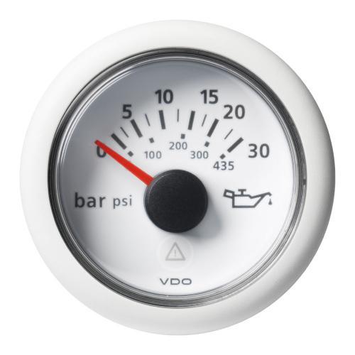VDO-ViewLine Getriebeöl-Druckanzeiger Ø52mm 0-30/35 bar/0-400/435 psi 8-32V 10-184 Ohm schwarz oder weiß