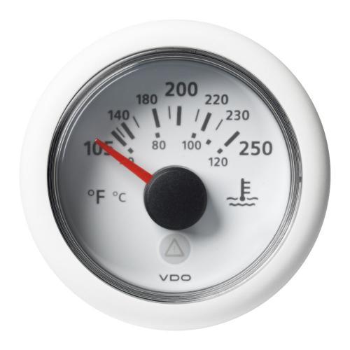 VDO-ViewLine Kühlwasser-Temperaturanzeiger Ø52mm 40-120°C/105°F-250°F 8-32V 287,4 – 22,7 Ohm schwarz oder weiß