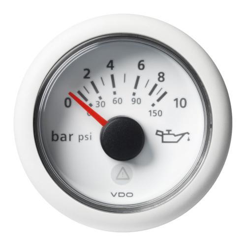 VDO-ViewLine Motoröl-Druckanzeiger Ø52mm 0-10 bar/0-150 psi 8-32V 10–184 Ohm/240 – 33,5 Ohm schwarz oder weiß