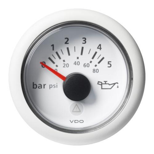 VDO-ViewLine Motoröl-Druckanzeiger Ø52mm 0-5 bar/0-80 psi 8-32V 10–184 Ohm schwarz oder weiß