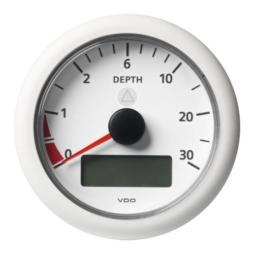 VDO-ViewLine Tiefenmessgerät mit Anzeige für Wassertemperatur,Spannung und Uhrzeit Ø85mm 0-30m 8-32V schwarz oder weiß