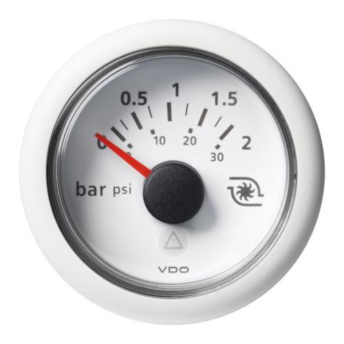 VDO-ViewLine Turbolade-Druckanzeiger Ø52mm 0-2 bar/ 0-30 psi 8-32V 10-184 Ohm schwarz oder weiß