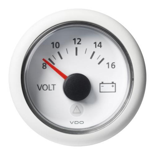 VDO-ViewLine Voltmeter Ø52mm 8-16V/18-32V schwarz oder weiß