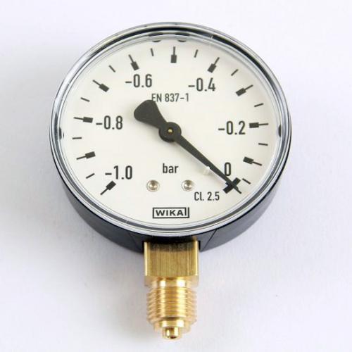 Wika Unterdruck Manometer 0 bis -1,0 bar Armatur mit Rohrfeder EN 837-1 G 1/4