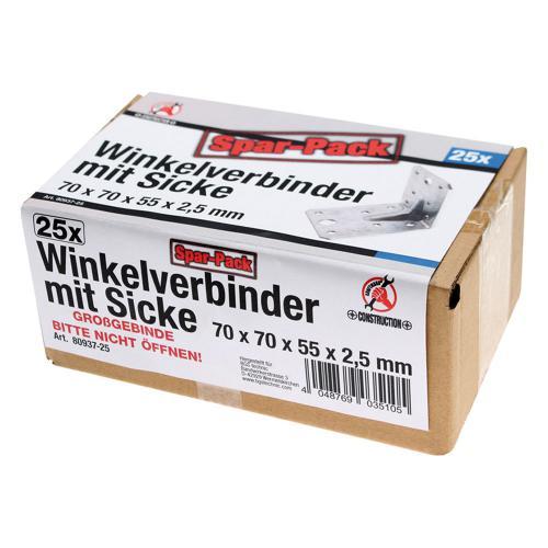 Winkelverbinder, Spar-Pack (25 Stück), verzinkt mit Sicke (Verstärkung), 70x70x55x2,5 mm