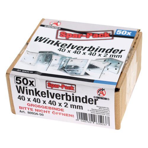 Winkelverbinder, Spar-Pack (50 Stück), verzinkt, 40x40x40x2 mm